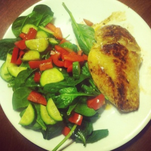 Grilled Lemon Garlic Chicken with Spinach Salad