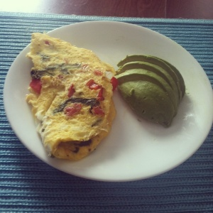 Red Pepper and Spinach Omelette with Avocado